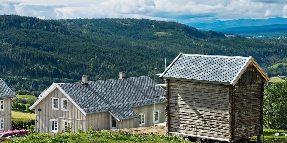 Takskifer på storgard i Trøndelag