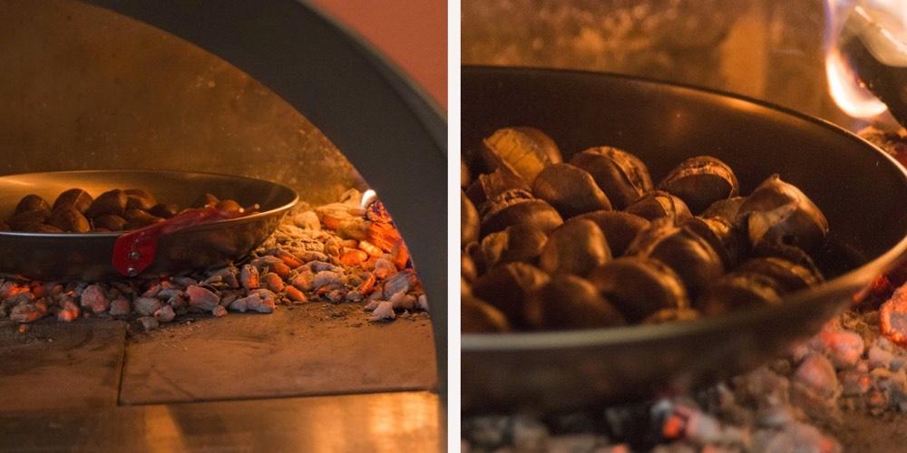 Grilling av kastanjer i steinovn